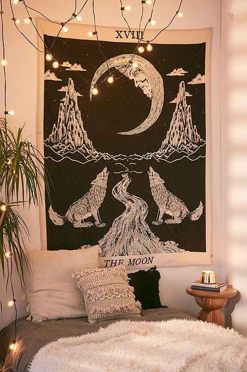 Magical Thinking Moon Tarot Tapestry,BLACK & WHITE,ONE SIZE