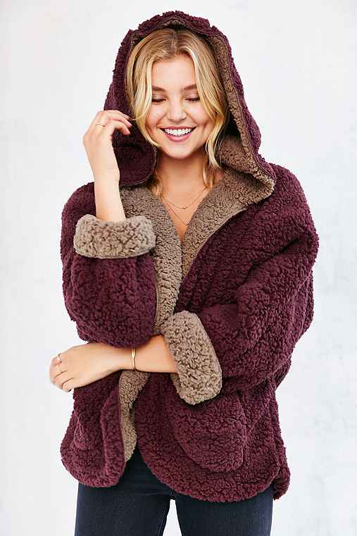 Ecote Fuzzy Reversible Jacket,RED MULTI,M/L