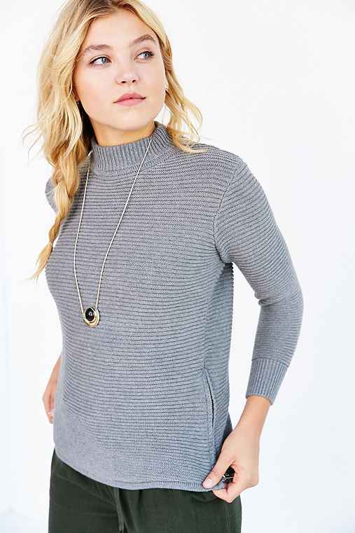 UNIF For UO Double Zip Waffle-Knit Sweater,GREY,XS