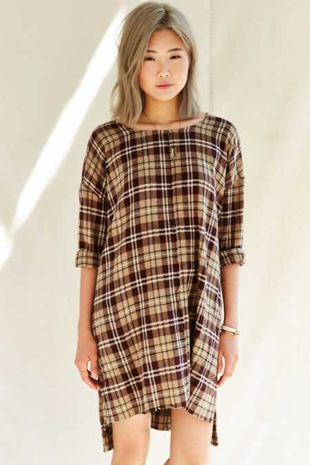 Urban Renewal Remade Plaid Flannel Raw Edge Dress