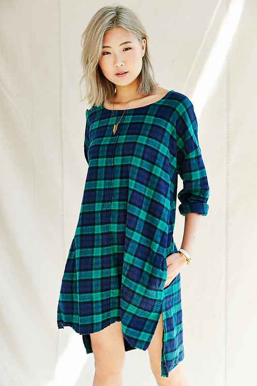 Urban Renewal Remade Plaid Flannel Raw Edge Dress,GREEN,S