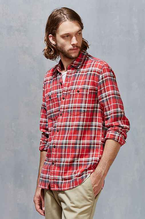 Stapleford Rowan Acid Plaid Flannel Button-Down Shirt,RED,XL