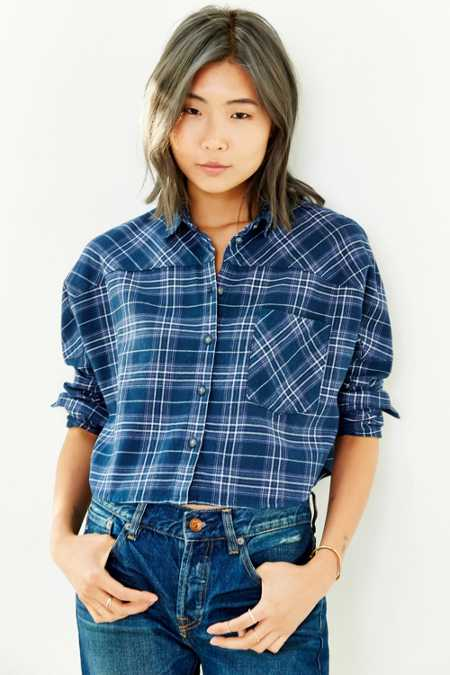 BDG Astrid Dolman-Sleeve Flannel Button-Down Shirt