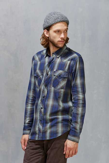 Salt Valley Shadow Plaid Western Button-Down Shirt