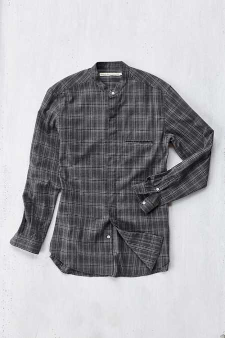 Shades Of Grey By Micah Cohen Band Collar Brushed Plaid Button-Down Shirt