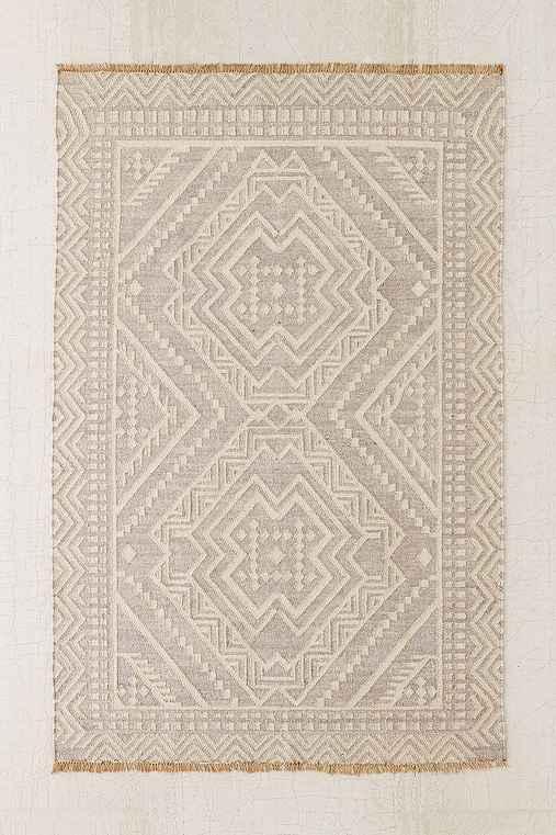 Gleason Woven Wool Rug,GREY,5X8