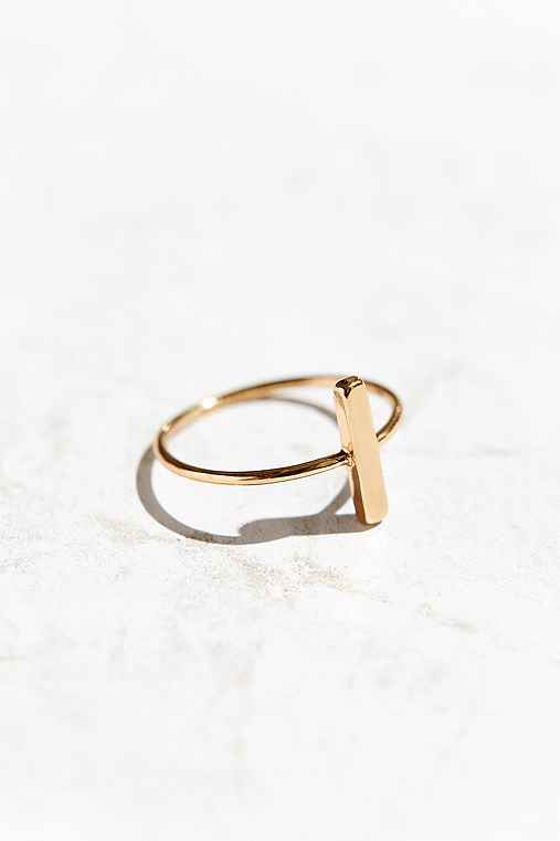 Circle + Bar Ring,GOLD BAR,7
