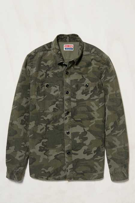 All-Son Camo Button-Down Overshirt