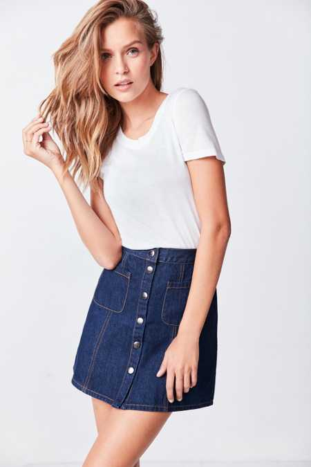 BDG Denim Button-Front Skirt