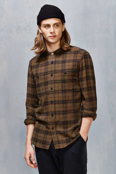 Koto Uka Plaid Band Collar Button-Down Shirt