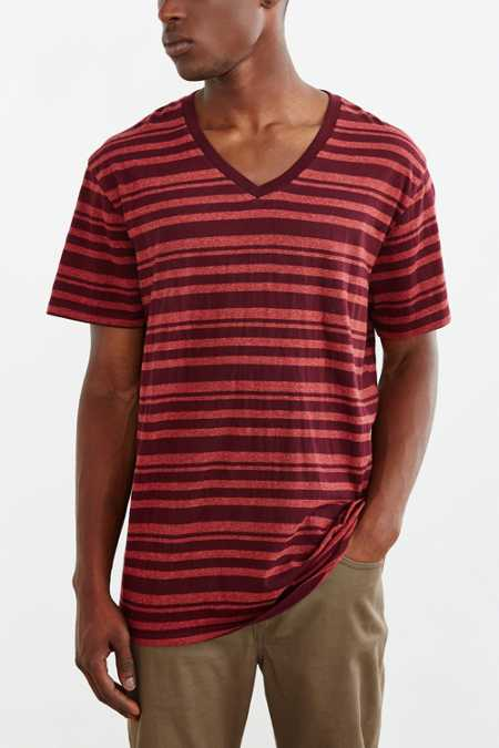 BDG Vale Heather Stripe Standard-Fit V-Neck Tee