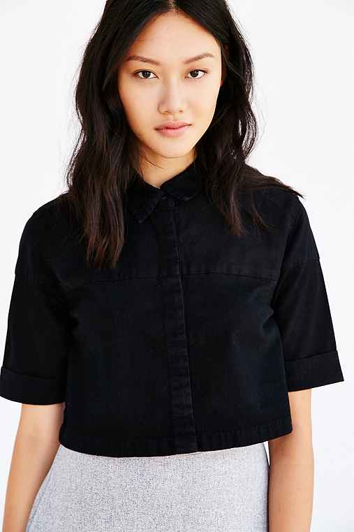 Courtshop Kate Cropped Button-Down Shirt,BLACK,S