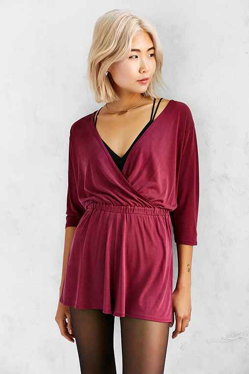 Silence + Noise Tangled Up Romper,MAROON,XS