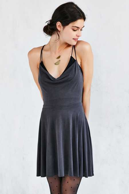 Silence + Noise Amie Cowl-Neck Waisted Dress