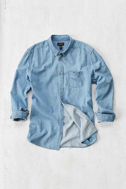 Stevens Denim Button-Down Shirt,INDIGO,L