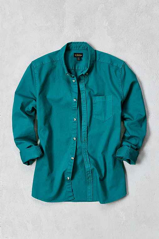 Stevens Denim Button-Down Shirt,GREEN,XL