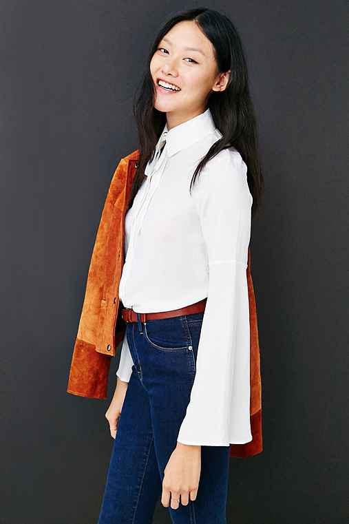 Oh My Love Bell Sleeve Button-Down Shirt,WHITE,L