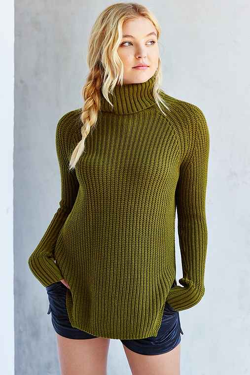 Silence + Noise Harley Shirttail Turtleneck Sweater,GREEN,M