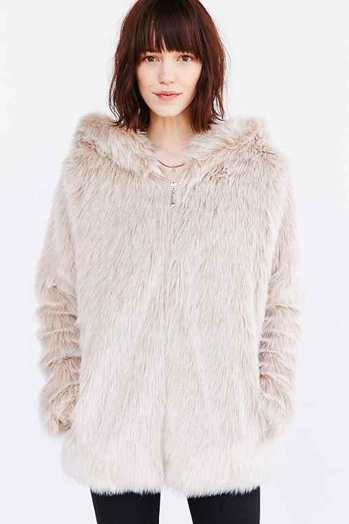 BB Dakota Kaity Faux Fur Jacket,IVORY,M