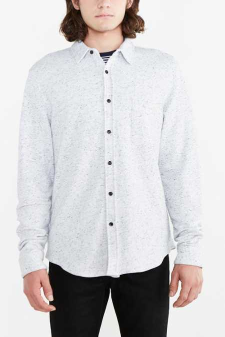 Speckled French Terry Button-Down Shirt