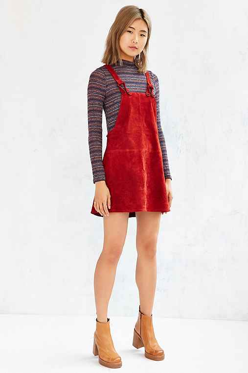 Cooperative Brandy Suede Overall Dress,BRICK,L