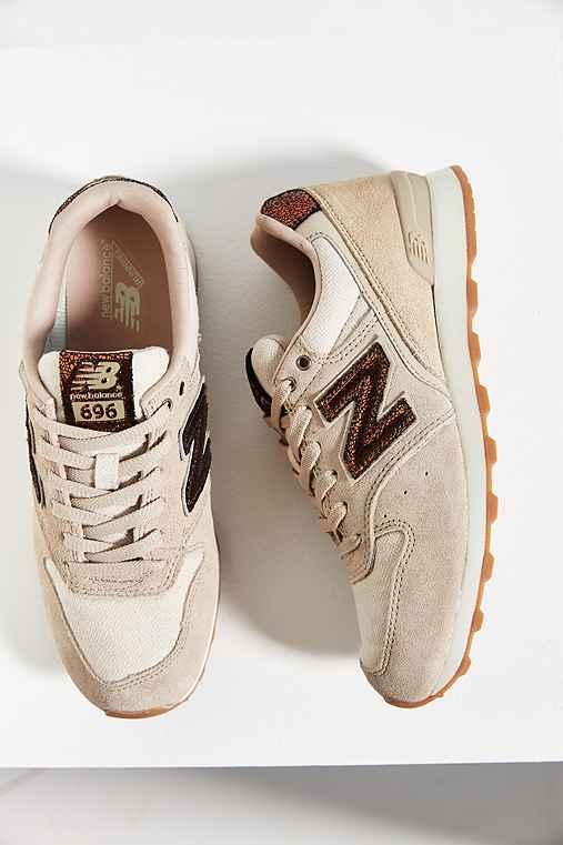 New Balance 696 Luxury Running Sneaker,TAN,7.5