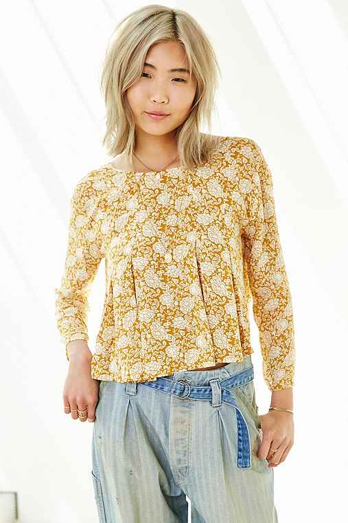 Kimchi Blue Canyon Popover Top,MUSTARD,S