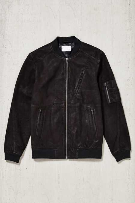 Your Neighbors Marius Leather Bomber Jacket