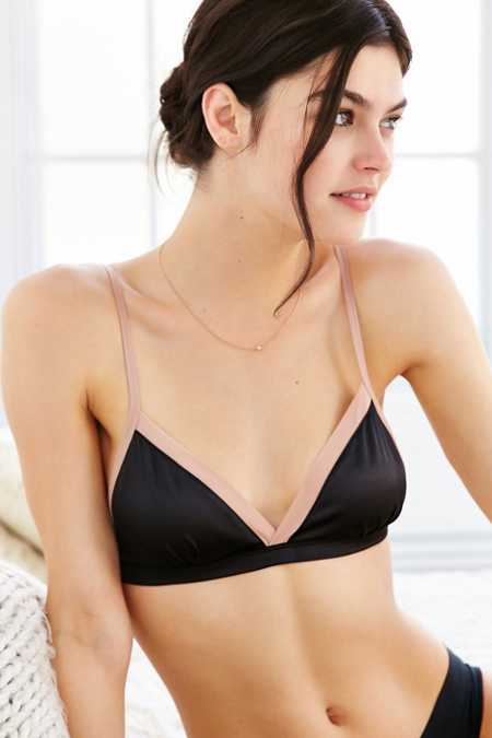 Out From Under Surplice Satin Triangle Bra