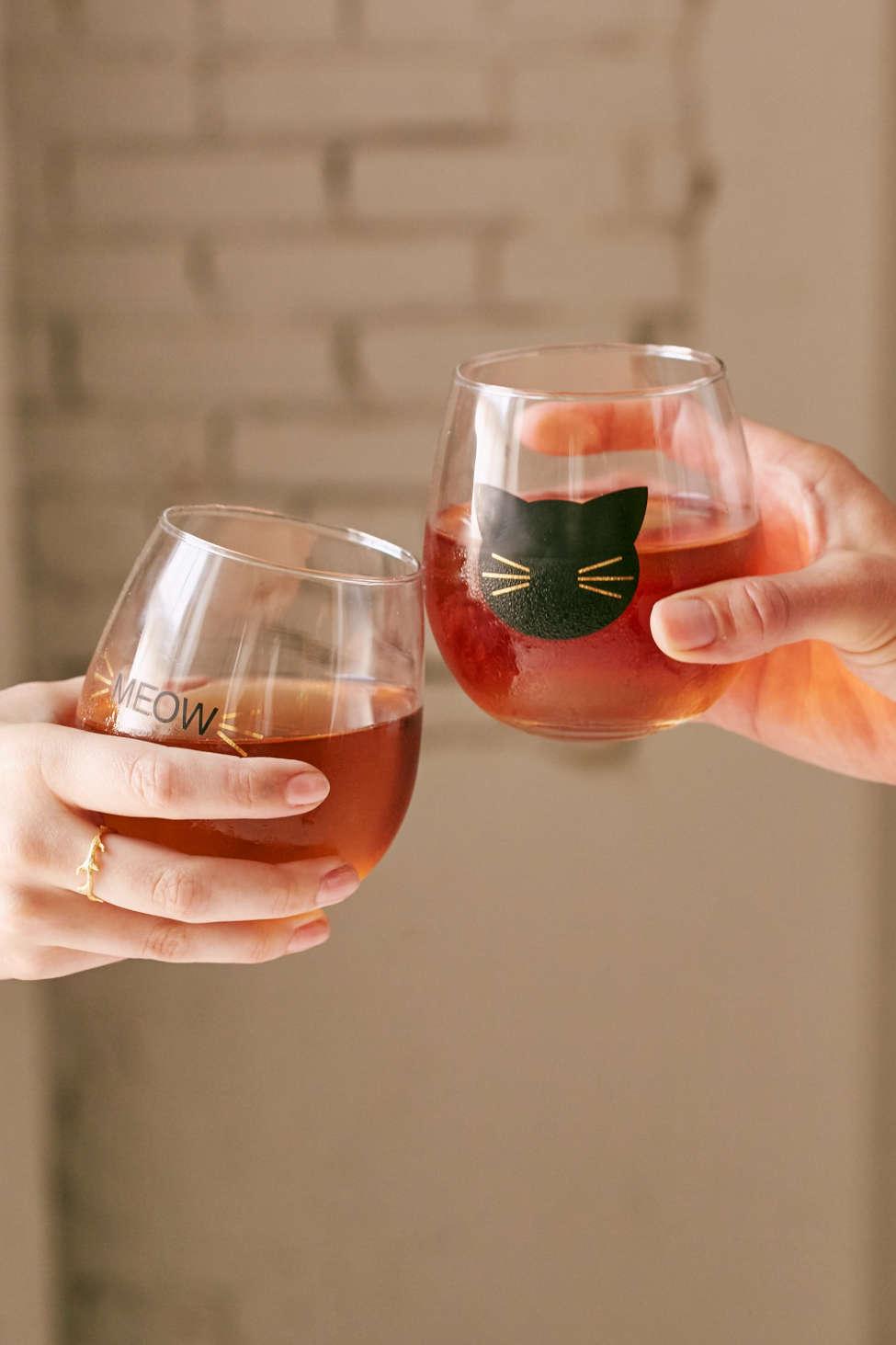 Meow Stemless Wine Glass Set