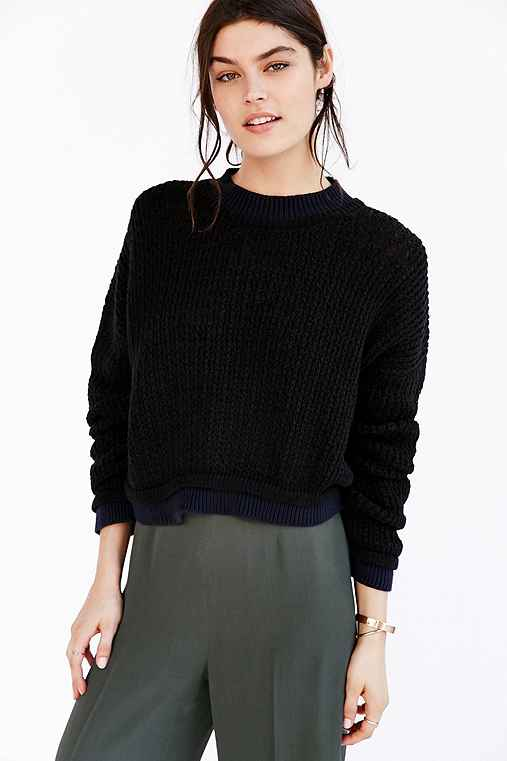 Silence + Noise Connor Wave Stitch Sweater,BLACK,M