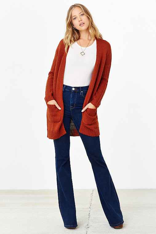 Silence + Noise Ribbed-Sleeve Open-Front Cardigan,RUST,S