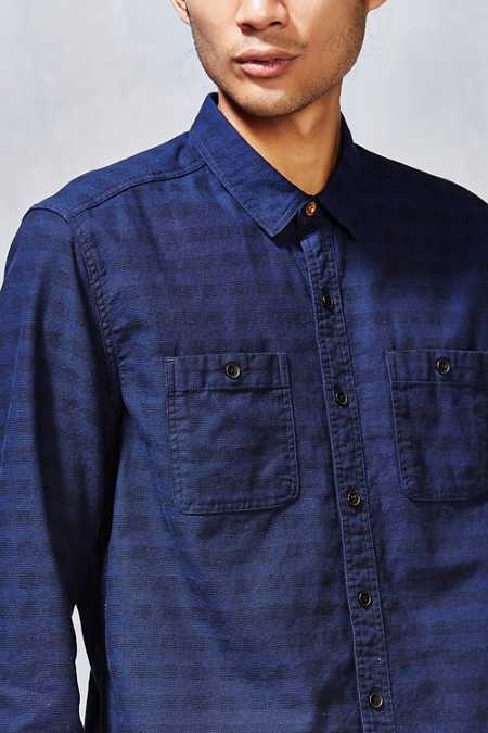 Koto Indigo Tonal Check Button-Down Shirt