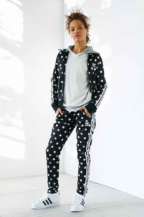 adidas Originals Dots Firebird Track Pant,BLACK & WHITE,S