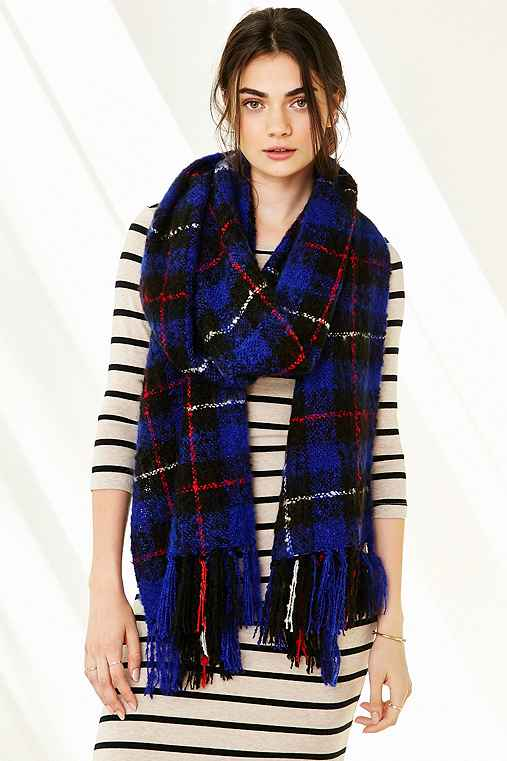 Brushed Plaid Blanket Scarf,SAPPHIRE,ONE SIZE