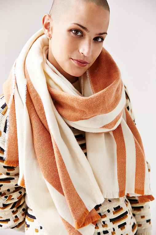BDG Vertical Stripe Oversized Blanket Scarf,NEUTRAL MULTI,ONE SIZE