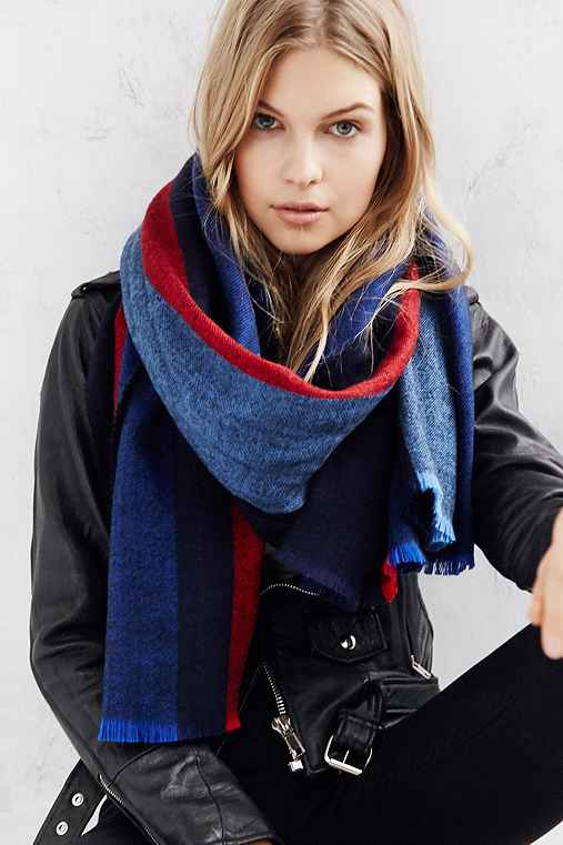 BDG Vertical Stripe Oversized Blanket Scarf,BLUE MULTI,ONE SIZE