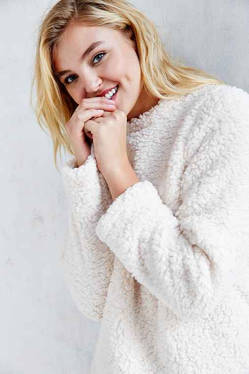 Silence + Noise Cozy Sherpa Top,IVORY,S
