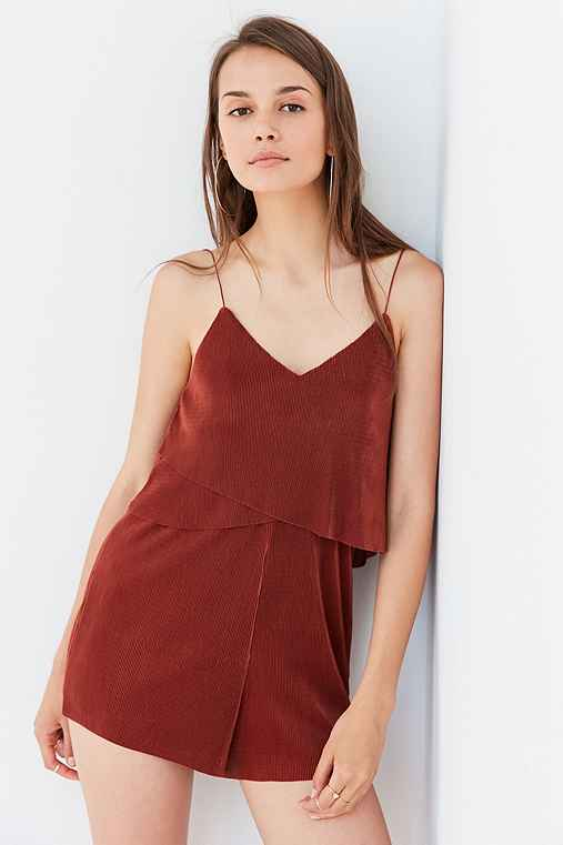 Silence + Noise Accordion Pleat Romper,RUST,XS