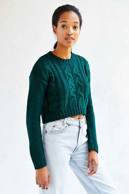 Lucca Couture Cropped Sweater,GREEN,M