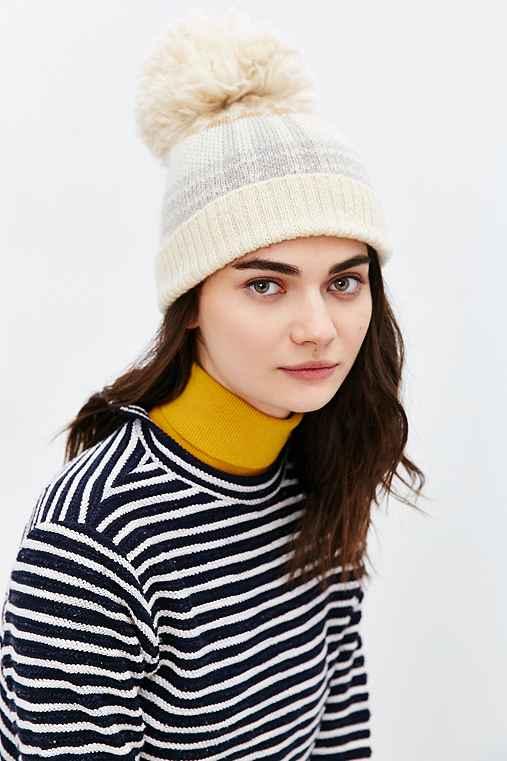 Woolrich Plaid Menswear Pompom Hat,CREAM,ONE SIZE
