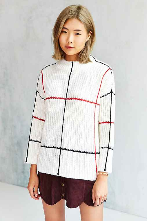 Lucca Couture Window Pane Plaid Sweater,NEUTRAL MULTI,S