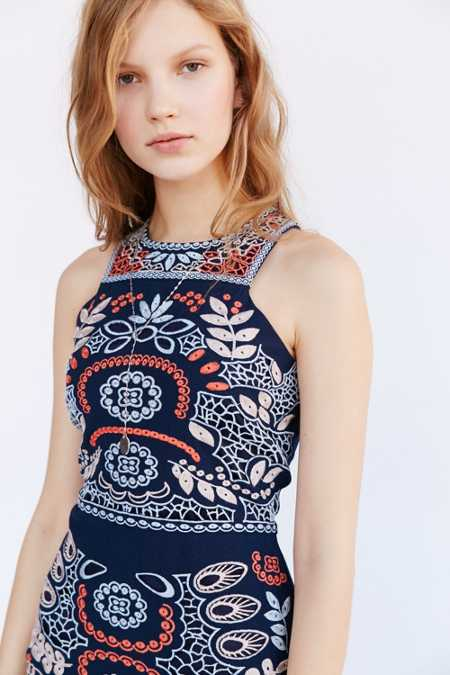 J.O.A. Embroidered Bodycon Mini Dress