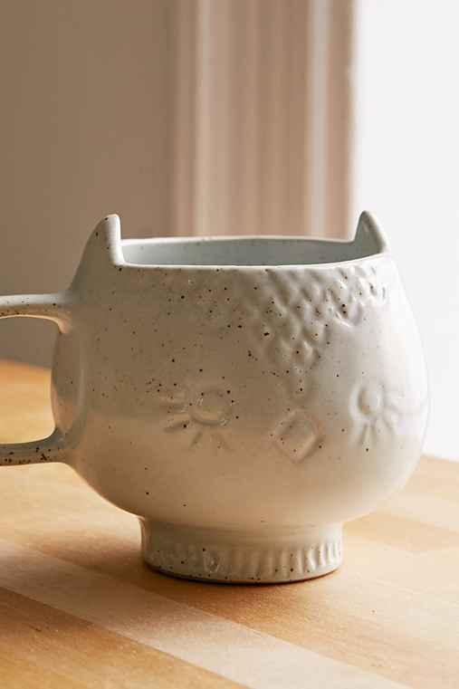 Assembly Home Ceramic Snow Owl Mug,WHITE,ONE SIZE