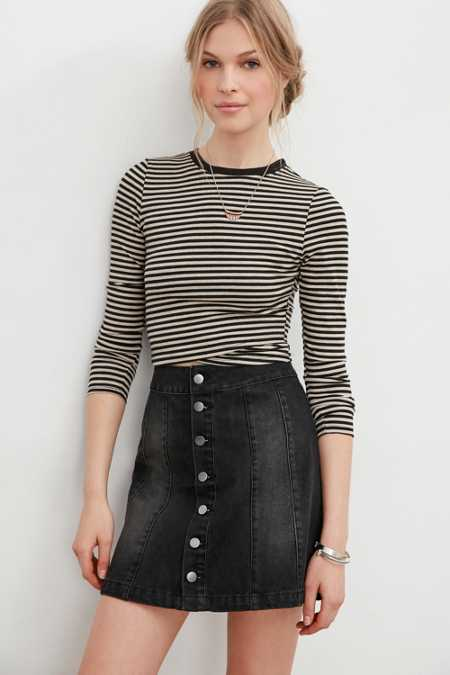 BDG Denim Seamed Button-Down Skirt