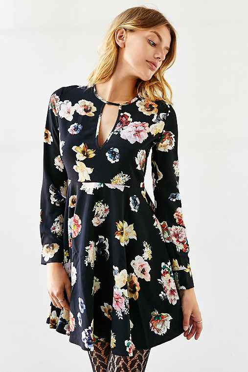 Oh My Love She Loves Tea Floral Dress,BLACK MULTI,XS