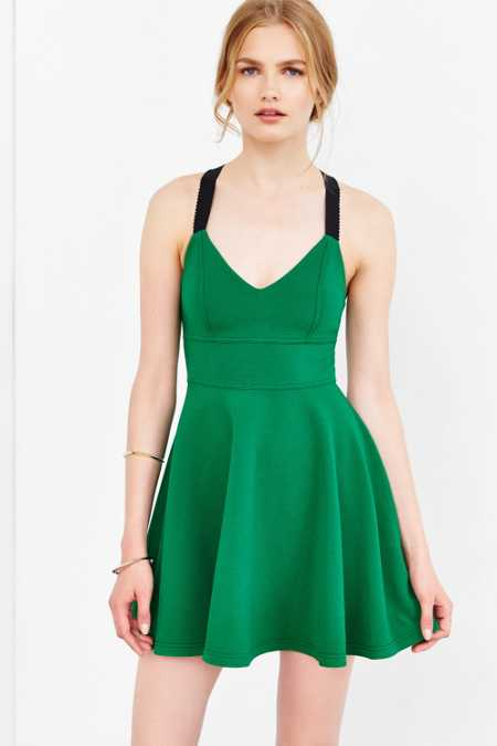 Silence + Noise Emerald City Wide-Strap Mini Dress