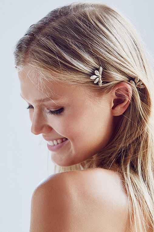 Ornate Foliage Hair Comb Set,GOLD,ONE SIZE