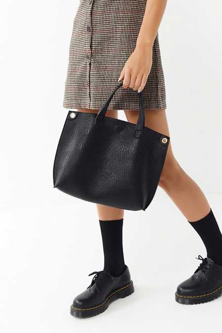 Mini Reversible Vegan Leather Tote Bag