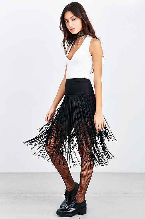 The Wallflower Grazing Fringe Skirt,BLACK,S